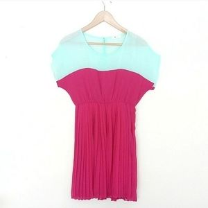 Everly Dress Fuchsia Teal Sheer Top Pleated Bottom
